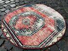 Circle Area Rug, Vintage rug, Handmade rug, Area rug, Wool, Carpet | 2,9 ft