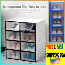 6Pcs Storage Box Shoe Stackable Organizer Foldable Plastic Transparent Sneaker