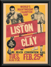 Cassius Clay vs Sonny Liston 1964 Poster Reprint On 60 Year Old Paper *P236