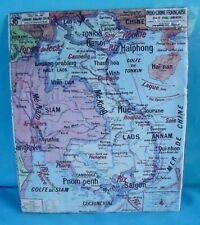 Carte de Géographie sur l'Asie Indochine Française Tonkin Hanoï Saïgon Laos