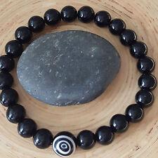 Black Tourmaline Spiral Evil Eye Protection Beaded Bracelet