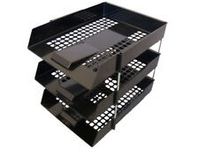 15x Filing Paper Letter Trays + Risers A4 Black Stacking Office Desk Stationary