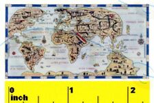 Miniature   Medieval TUDOR  World Map 1546  Print  - Dollhouse  1:12 scale