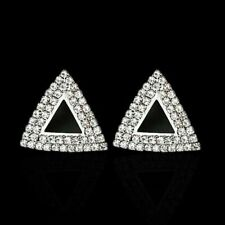 Cute New Silver Fashion Jewelry Clear Rhinestone Crystal Triangle Stud Earrings