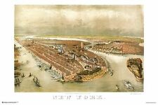 NEW YORK CITY - VINTAGE 1874 PANORAMIC MAP POSTER 24x36 - NYC 10875