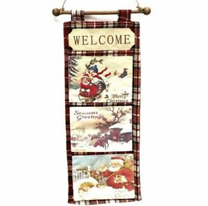 Christmas Welcome Wall Hanging Fabric Retro Postcards Red Plaid 19x8 Holiday
