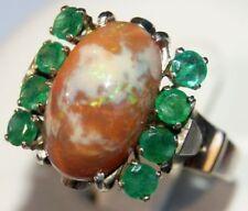 14 Karat / 585er Weißgold Damen Ring mit Opal und 8 Smaragden, Deutsche Gr. 54