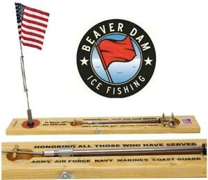Beaver Dam Tip Up Veterans 5 Branches With American Flag BDTPV5
