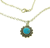"""Vintage Sterling Silver Turquoise Pendant Chain Necklace 12mm 16"""" 5.25g."""