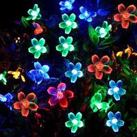 Solar Powered 50 LED String Fairy Light Garden Party Decor Lamp Cherry Blossom