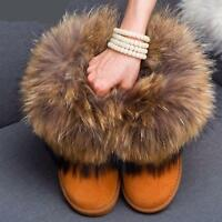 Womens Shoes Snow Winter Ankle Boots Suede Leather Big Fox Fur Woolen Flats New