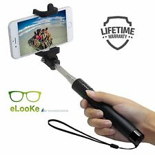 For Samsung iPhone Smartphone Extendable Selfie Stick Monopod Aux Cable Android