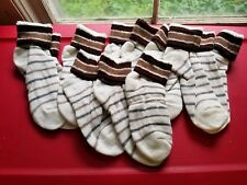 Vintage Lot Of 6 Terrycloth Athletic NOS Dead Stock Socks Brown!