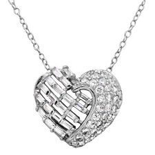 Sterling Silver Rhodium Plated Necklace w/Round,Baguette CZ Stones Heart Pendant