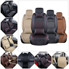 US Car Seat Cover 5-Seats SUV PU Leather Cushions Front&Rear w/ Pillows Full Set