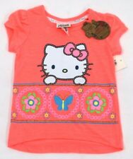 Hello Kitty Little Girls High Low Butterfly Floral Glitter T-Shirt Neon Coral 3T