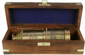 18'' VICTORIAN MARINE TELESCOPE WITH WOODEN BOX BRASS ANTIQUE VINTAGE SPYGLASS