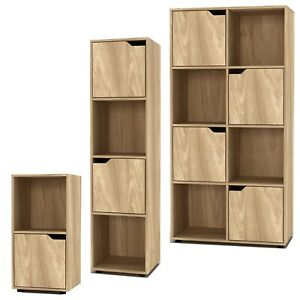 2, 4, 8 Cube Bookcase Shelving Display Shelf Storage Unit Wooden Door Organiser