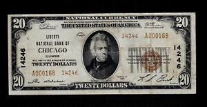 1929 Chicago Illinois Type 2 $20 National Banknote Charter 14246 VF
