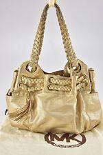 MICHAEL KORS Gold Leather Satchel Sac Hobo Tassel Rope Handbag - R111