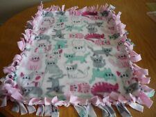 Handmade fleece tie blanket of happy kitty for a small pet