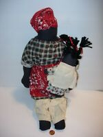 fabric Rag Doll Primitive Folk Art african american mom & baby HANDMADE 18""