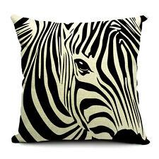 Vintage Linen Cotton Couch Sofa Cushion Cover Throw Pillow Case -Zebra 45X 45 cm