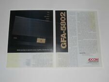 Adcom GFA-5802 Audiophile Amplifier Ad, 2 Pages, 1997, Article and Info