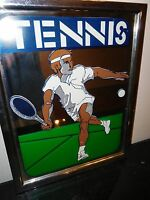 VINTAGE RETRO TENNIS PLAYER MIRROR ART UNIQUE CHROME FRAME MOD 1970s MCM