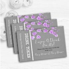Rustic Vintage Dark Grey & Purple Blossom Custom Wedding Bar Free Drink Tokens