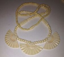 Vintage Oriental Hand Carved  celluloid necklace with 3 fans