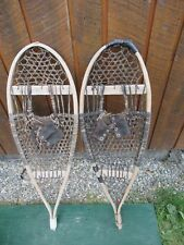 "Old Snowshoes 37"" Long x 12"" Wide with Leather Bindings Great for Decoration"