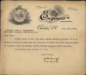1918 Charleston South Carolina (SC) Letter Office of City Engineer Alderman John