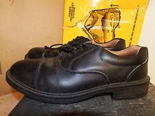 City Knights Black Leather Lace up Oxford Safety Shoes UK 8 - EU 42 - AA532