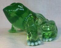 Mosser Art Glass Green Opalescent Frog Discontinued Item