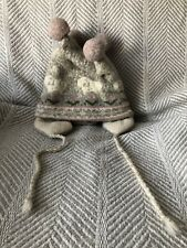 Pastel Sheep Ram Print Earflap Knitted Cap Hat 4 Wool PomPoms on Top Grey White