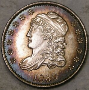 1830 CAPPED BUST SILVER HALF DIME GORGEOUS CRISP SHARP FEATURES W/MONSTER TONING