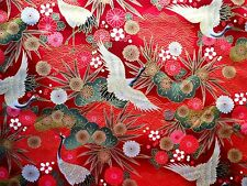 Oriental Cranes on Red/Gold fabric fq 50x 56cm 67790-3 100% Cotton