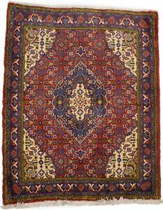 Floral Small Vintage Fish Mahi Design 2X3 Oriental Rug Handmade Kitchen Carpet