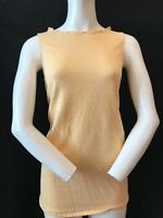 MOSCHINO Women's Linen & Cotton Gold Stripe Sleeveless Summer Blouse Top UK 12