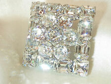 Weiss Signed Magnificent Vintage 40's Deco Clear Rhinestone Brooch WOWOW 502f7