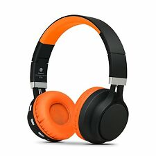 Over Ear Wireless Bluetooth Headphones Foldable fr iPhone iPod iPad Black Orange