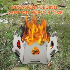Outdoor Camping Folding Wood Stove Hexagon Pocket Alcohol Stove w/ Bag New N6V8
