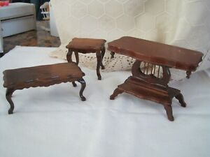 Doll House Furniture 3 Tables - dark wood