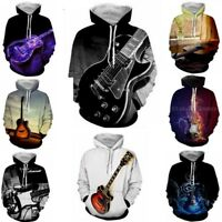 HOT Women's/Men's Guitar 3D Print Hoodie Sweatshirt Pullover tops Jumper S-5XL