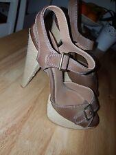 """Dorothy Perkins brown peep toe sandal heels size UK 7 with 6"""" heel"""