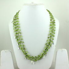 925 SOLID STERLING SILVER NATURAL FINE PERIDOT GEMSTONE NECKLACE 52 GRAMS 4-6 MM
