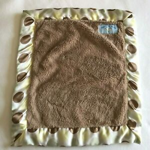 Blankets and Beyond Lovey Polka Dot Satin Brown Green Security Blanket