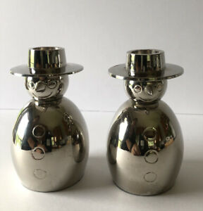 """CRATE & BARREL PAIR OF SILVER CHROME FINISH 4 1/2"""" CANDLESTICK CANDLE HOLDERS"""