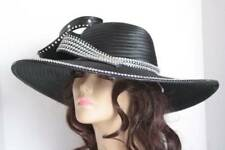 Black Kentucky Derby Hat Church Hat Women's Black Clear Rhinestones Elegant